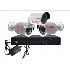 Комплект с тремя уличными IP камерами 3.0mp