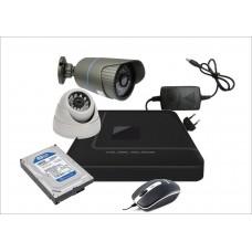 Готовый комплект из 2-х видеокамер AHD 1-ой офисной и 1-ой уличной
