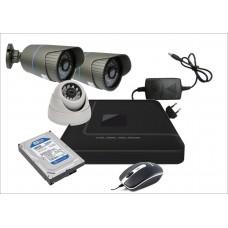 Готовый комплект из 3-х видеокамер AHD  1-ой офисной и 2-х уличных