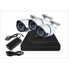 Комплект с тремя уличными IP камерами цветными