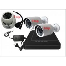 Комплект с тремя уличными IP камерами 1 mp