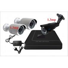 Комплект с тремя уличными IP камерами 1.3 mp